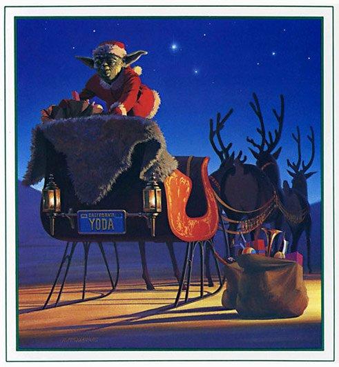 Yoda vestido de Santa Claus